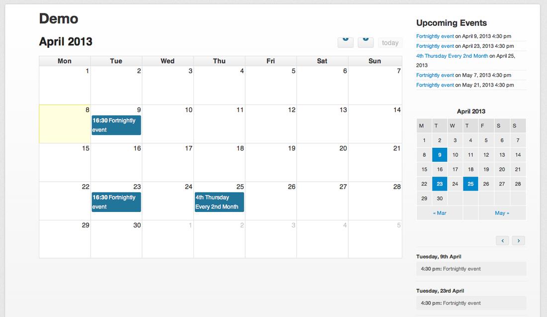 Как сделать календарь с событиями