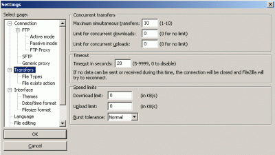 filezilla settings