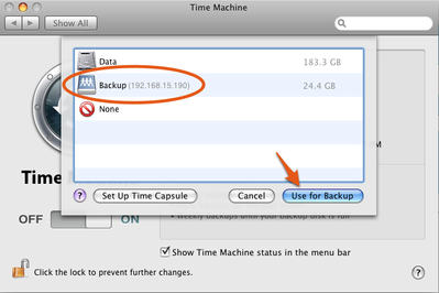 apple time machine network drive