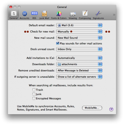 Preferences checking for new mail manually in Apple Mail