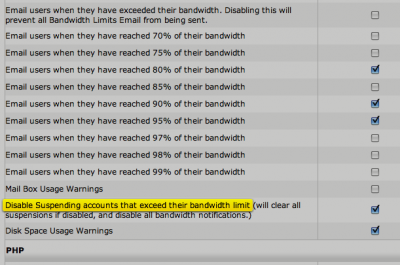disable suspending accounts bandwidth limit