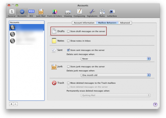 Apple Mail IMAP draft messages