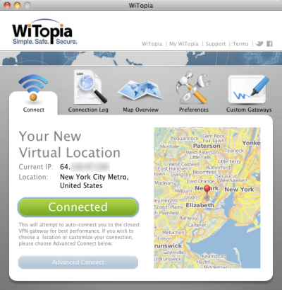 Witopia application interface