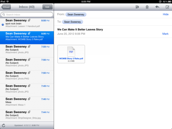 Apple Mail iPad 2012
