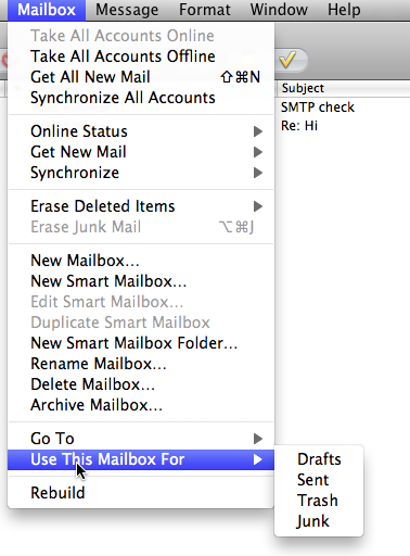 Apple Mail mailbox functions for IMAP