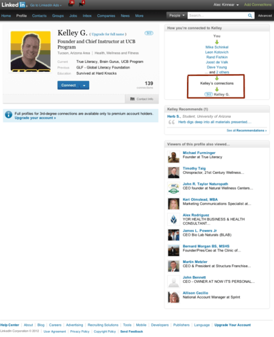 LinkedIn: Full profiles for 3rd-degree connections are available only to premium account holders.