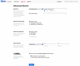 Flickr Advanced Search Tool