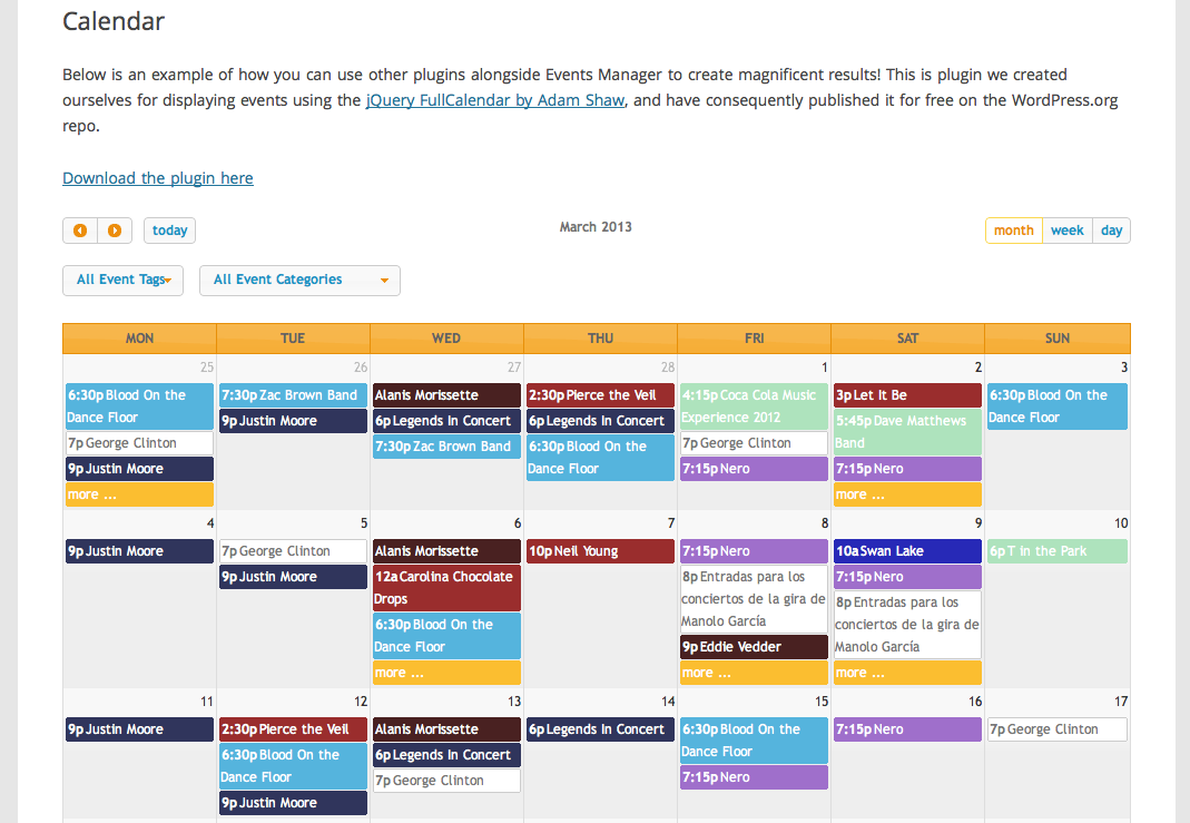 Calendar Events : Calendar plugins for wordpress cultural listings site