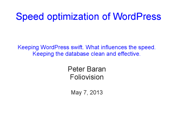 Speed optimization of WordPress 01