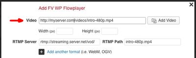 fv flowplater rtmp filled in mp4
