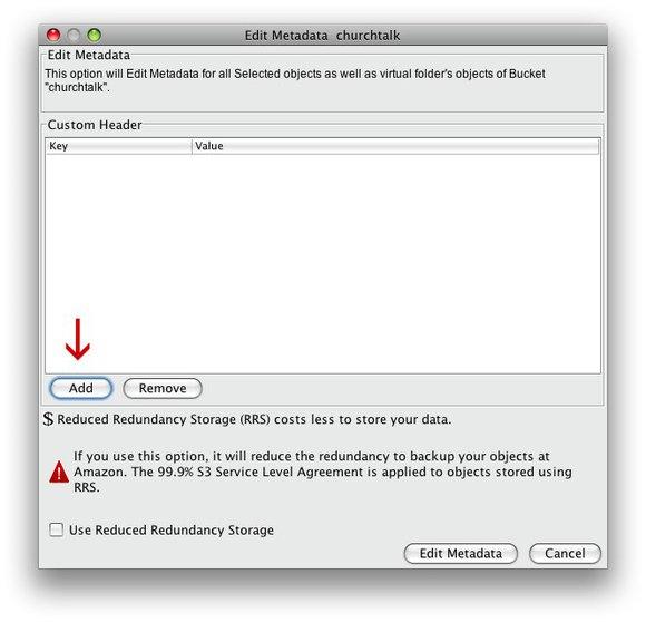Bucket explorer edit metadata window