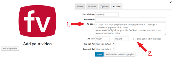 Adding a custom ad with a video