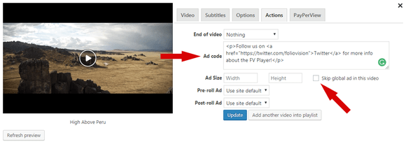 Adding a custom ad with a video in FV Player