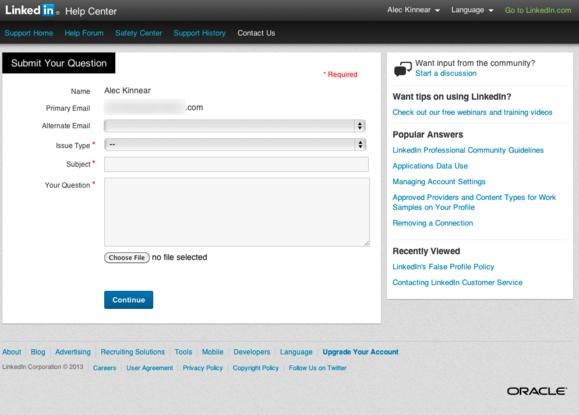 linkedin help email