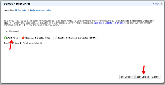 amazon s3 bucket upload