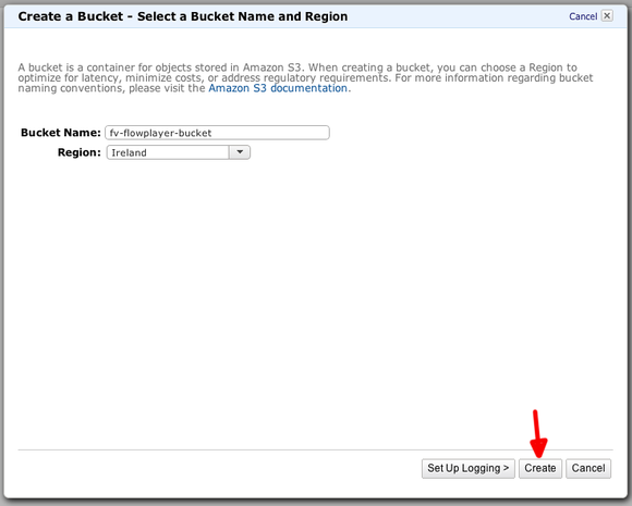 amazon s3 create bucket dialog