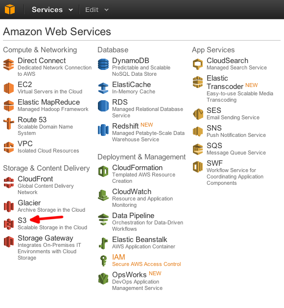 amazon aws menu s3