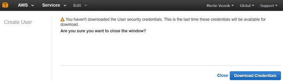 amazon iam credentials copied