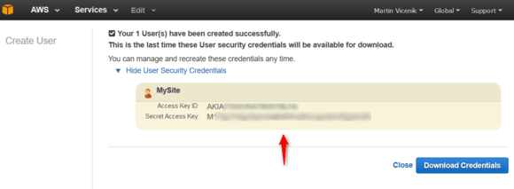 amazon iam show user security credentials