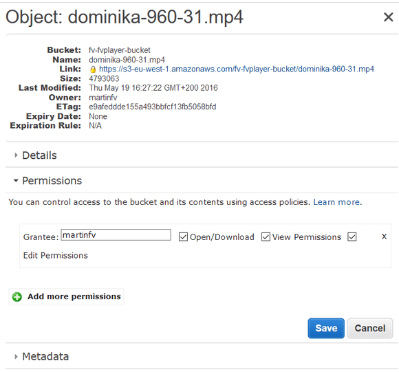 amazon s3 file permissions private