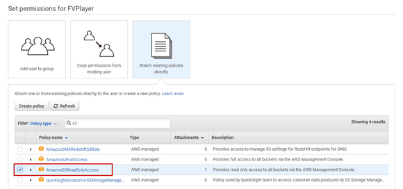 Selecting permissions for the new user in AWS IAM