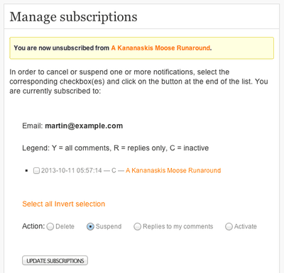 Simpler Unsubscribe to WordPress Comments for Subscribe to Comments Reloaded