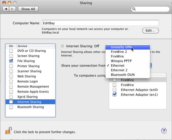 Apple VPN Internet Sharing