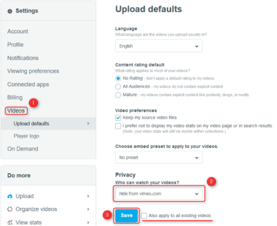 Vimeo privacy settings - videos