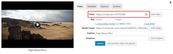 Adding a Vimeo video through FV Player's shortcode editor