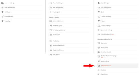 Editing the Shceduled Emails in Google Analytics