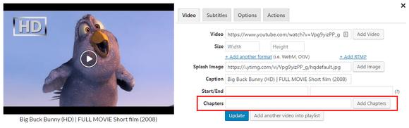Adding VTT chapters via shortcode editor