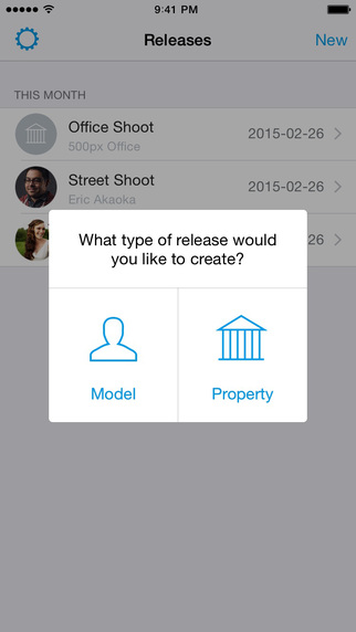 Releases by 500px screenshot type of release
