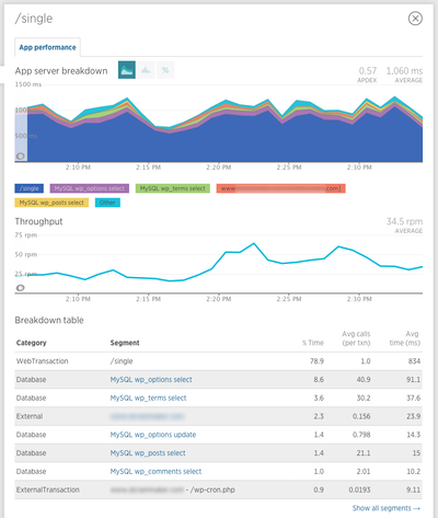 newrelic transaction single comments cache 4