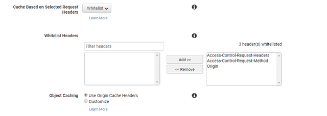 Whitelisting Request Headers in AWS CloudFront settings