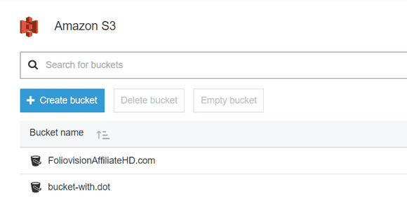 Creating a bucket in Amazon S3