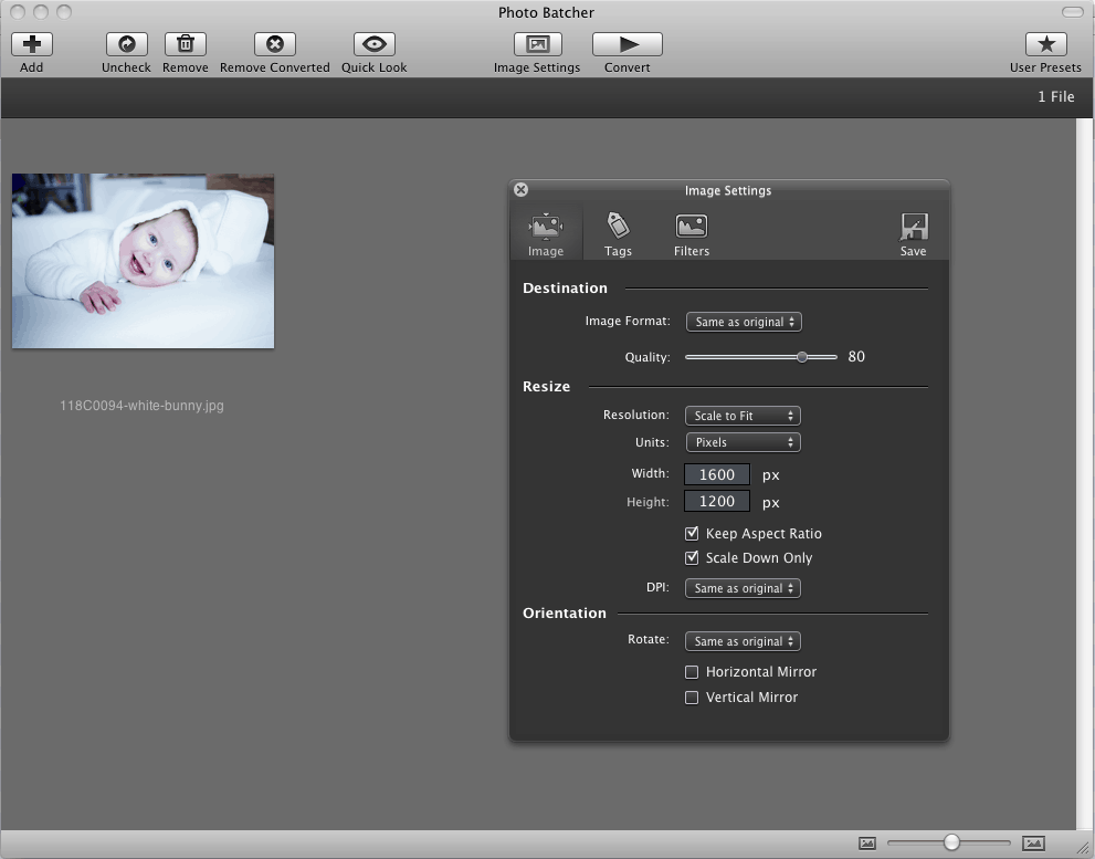 The PhotoBatcher interface isn't bad but no resizing on both width and height alas!