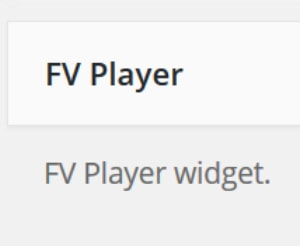 FV Player Now as a Widget