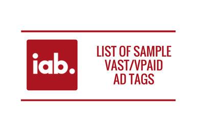 List of Sample VAST/VPAID Ad Tags