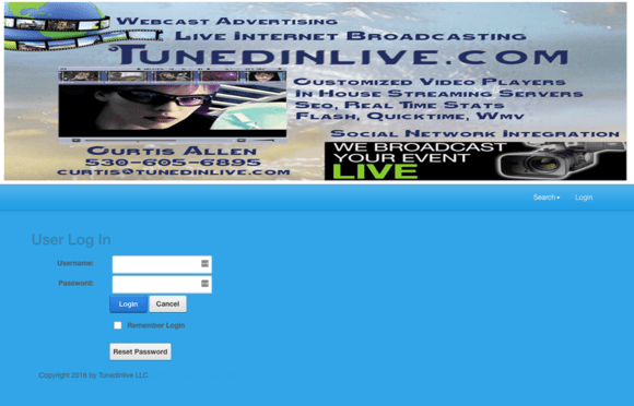 TunedInLive.com website of Curtis Allen
