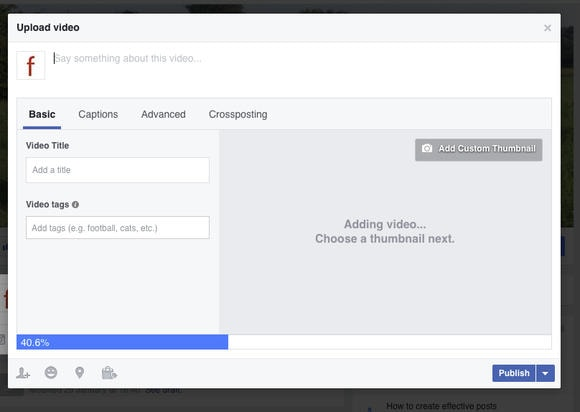 Uploading a video to Facebook