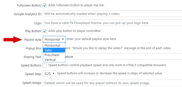 The default playlist style setting for FV Player