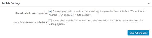 FV Player's Mobile Settings