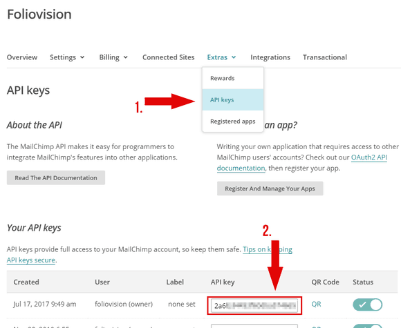 How to acquire an API key in MailChimp account