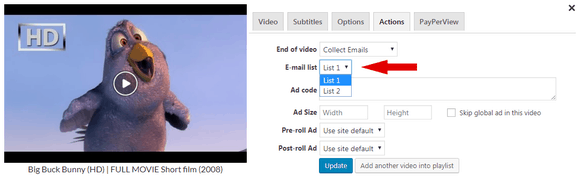 Choosing one of the subscription forms in FV Player's shortcode editor