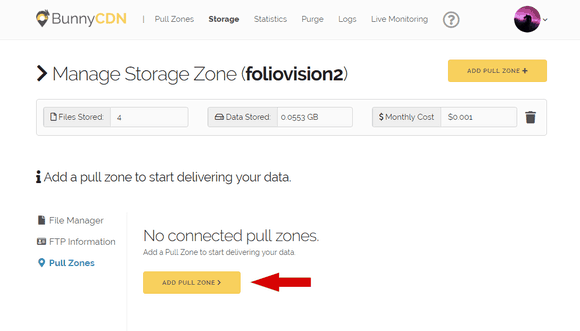 Adding a new Pull Zone linked to storage in BunnyCDN