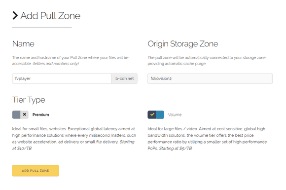 New Pull Zone settings in BunnyCDN