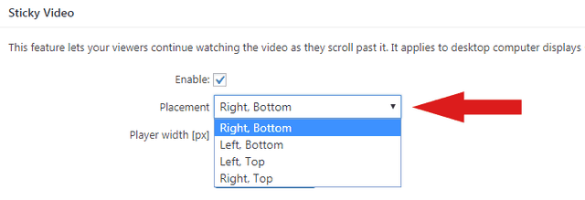 Adjsting the position of the Sticky Video in FV Player's options