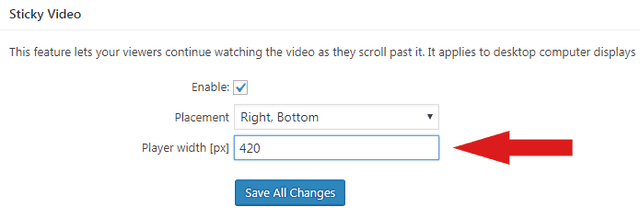Adjsting the width of the Sticky Video in FV Player's options