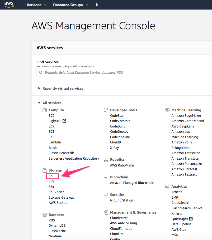 Finding S3 link on AWS page