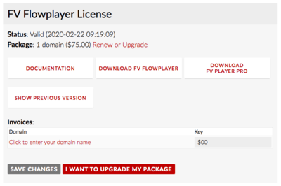 Changing Domain Name on FV Player License